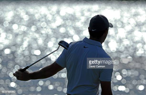 Rory McIlroy of Northern Ireland reacts as he just misses a putt on the par 4 first hole during the third round of the 2018 Honda Classic on The...