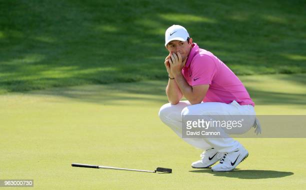 Rory McIlroy of Northern Ireland reacts as his putt for eagle just stays out on the par 5, 18th hole during the final round of the 2018 BMW PGA...