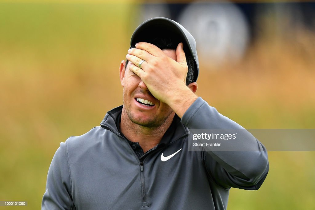 Rory McIlroy of Northern Ireland reacts on a practice round during previews ahead of the 147th Open Championship at Carnoustie Golf Club on July 16, 2018 in Carnoustie, Scotland.