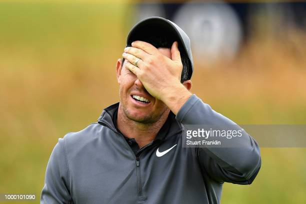 Rory McIlroy of Northern Ireland reacts on a practice round during previews ahead of the 147th Open Championship at Carnoustie Golf Club on July 16...