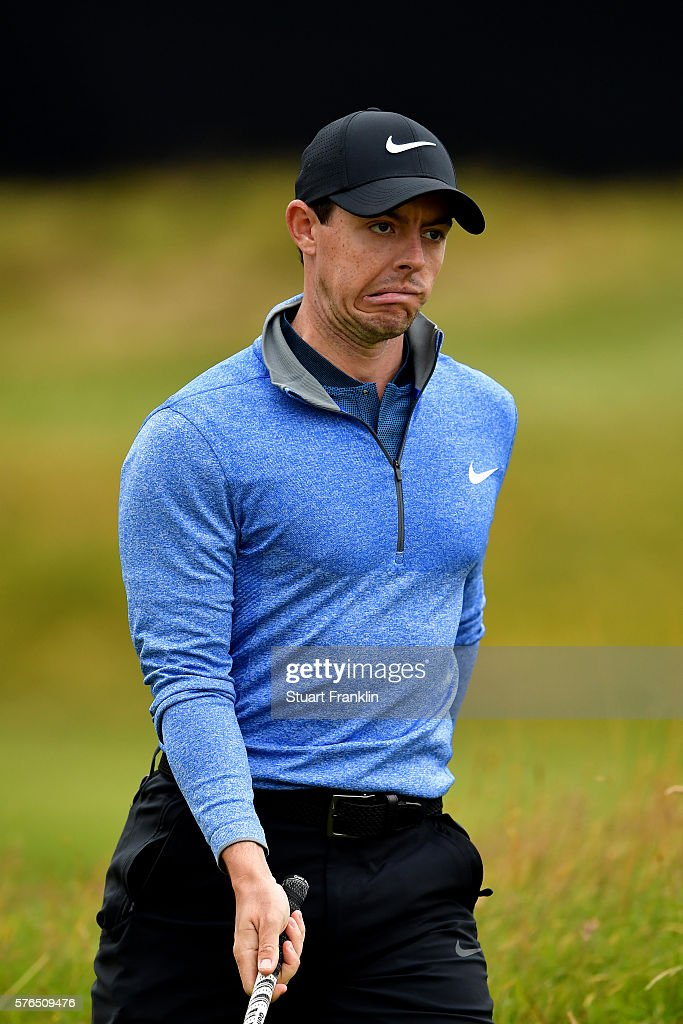 Rory McIlroy of Northern Ireland reacts on the 10th green during the second round on day two of the 145th Open Championship at Royal Troon on July 15, 2016 in Troon, Scotland.