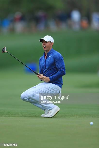 Rory McIlroy of Northern Ireland reacts on the 12th green during the third round of The PLAYERS Championship on The Stadium Course at TPC Sawgrass on...