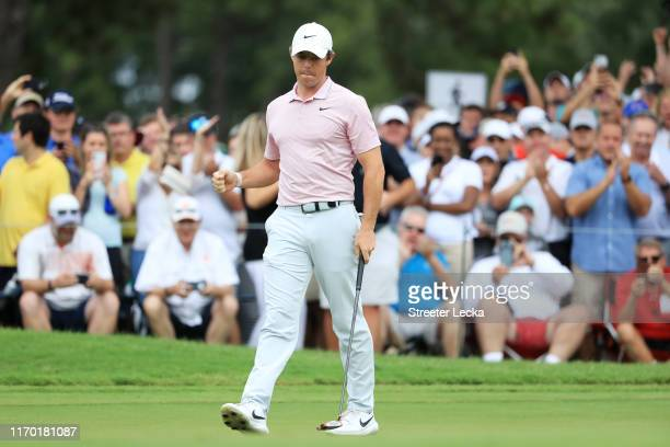 Rory McIlroy of Northern Ireland reacts on the 13th green during the final round of the TOUR Championship at East Lake Golf Club on August 25 2019 in...