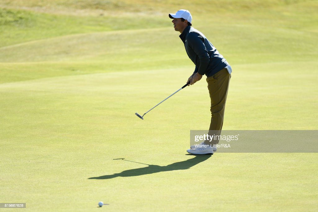 Rory McIlroy of Northern Ireland reacts on the 13th green during the first round of the 146th Open Championship at Royal Birkdale on July 20, 2017 in Southport, England.