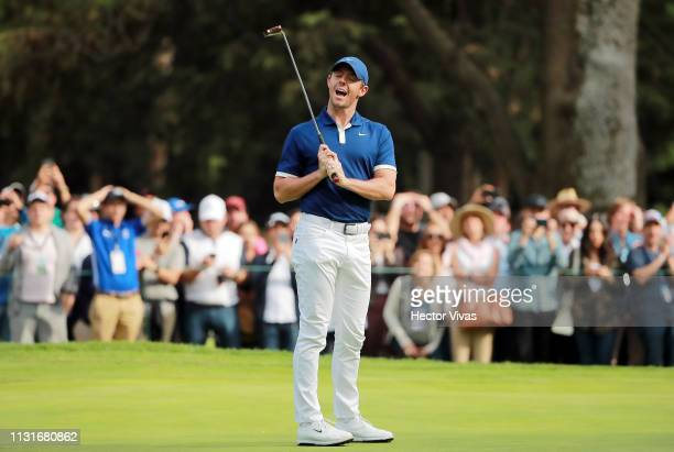 Rory McIlroy of Northern Ireland reacts on the 15th green during the third round of World Golf ChampionshipsMexico Championship at Club de Golf...