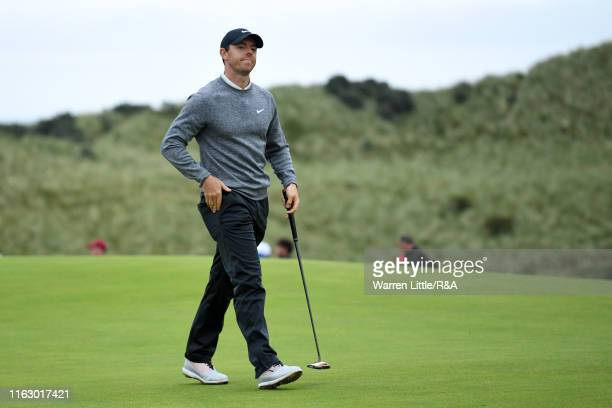 Rory McIlroy of Northern Ireland reacts on the 15th green during the second round of the 148th Open Championship held on the Dunluce Links at Royal...