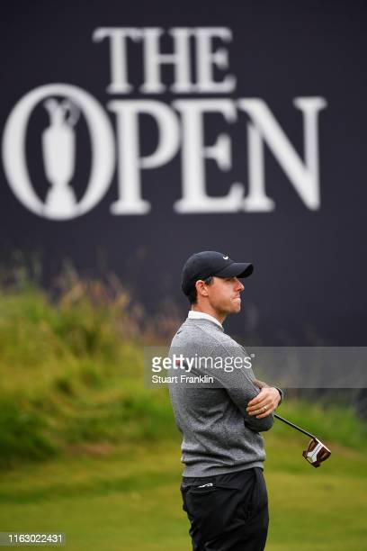 Rory McIlroy of Northern Ireland reacts on the 18th during the second round of the 148th Open Championship held on the Dunluce Links at Royal...