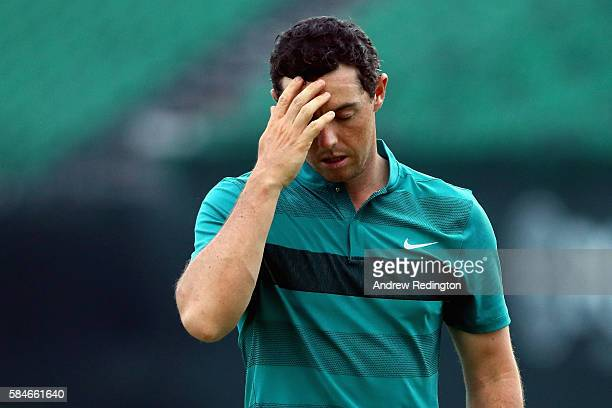 Rory McIlroy of Northern Ireland reacts on the 18th green during the second round of the 2016 PGA Championship at Baltusrol Golf Club on July 29 2016...