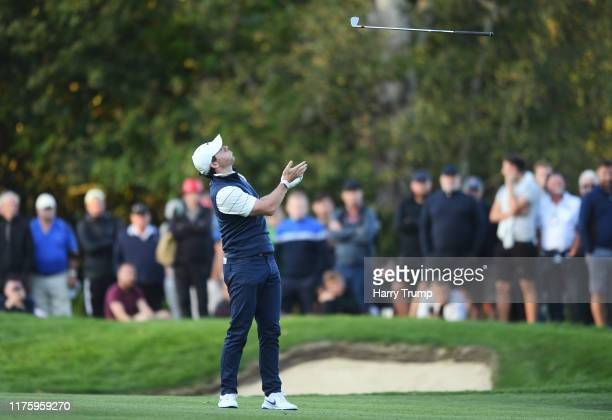 Rory McIlroy of Northern Ireland reacts on the eighteenth during Day 2 of the BMW PGA Championship at Wentworth Golf Club on September 20 2019 in...