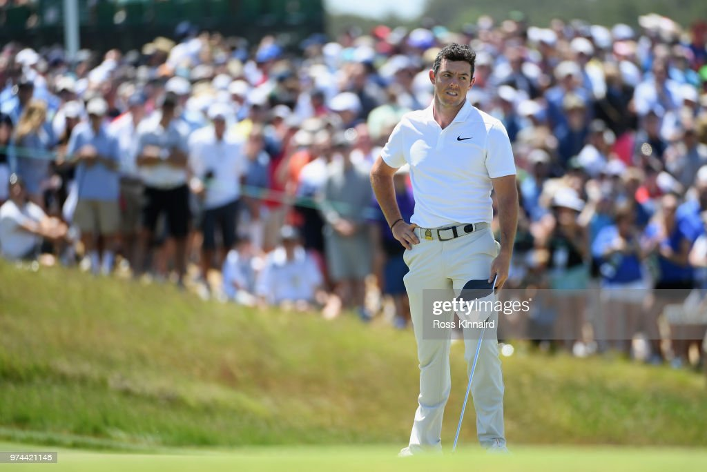 Rory McIlroy of Northern Ireland reacts on the ninth green during the first round of the 2018 U.S. Open at Shinnecock Hills Golf Club on June 14, 2018 in Southampton, New York.