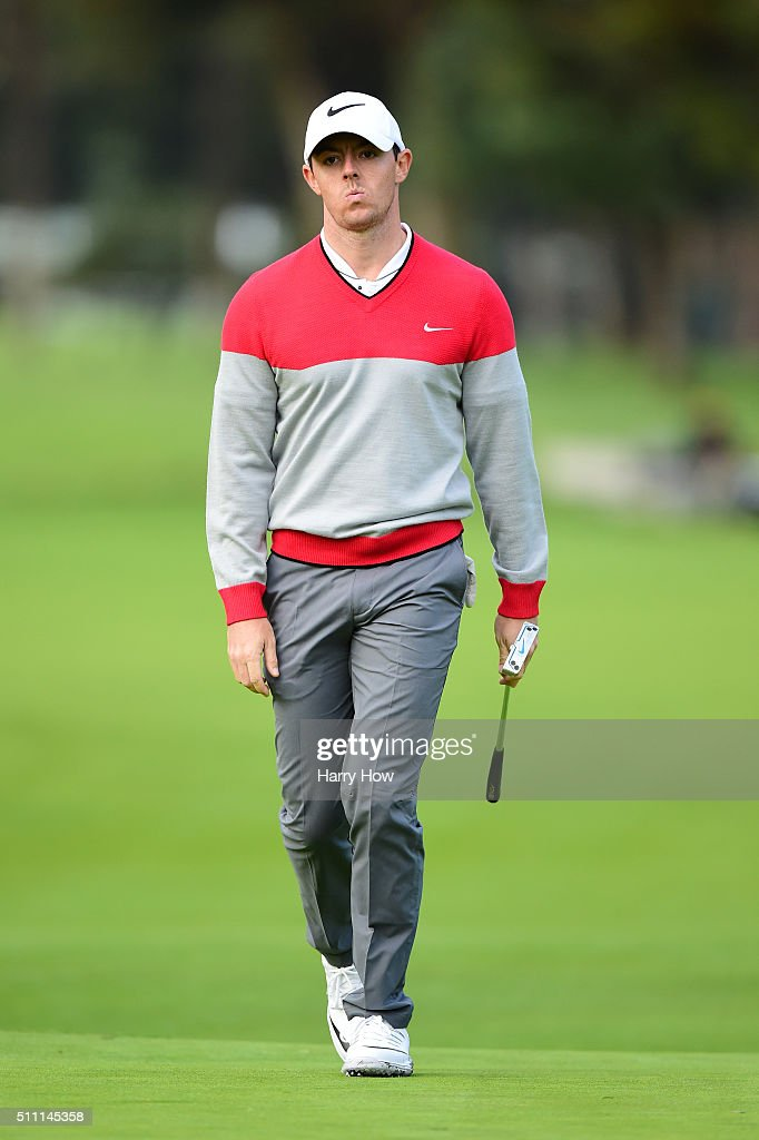 Rory McIlroy of Northern Ireland reacts to a missed butt on the 11th hole during round one of the Northern Trust Open at Riviera Country Club on February 18, 2016 in Pacific Palisades, California.