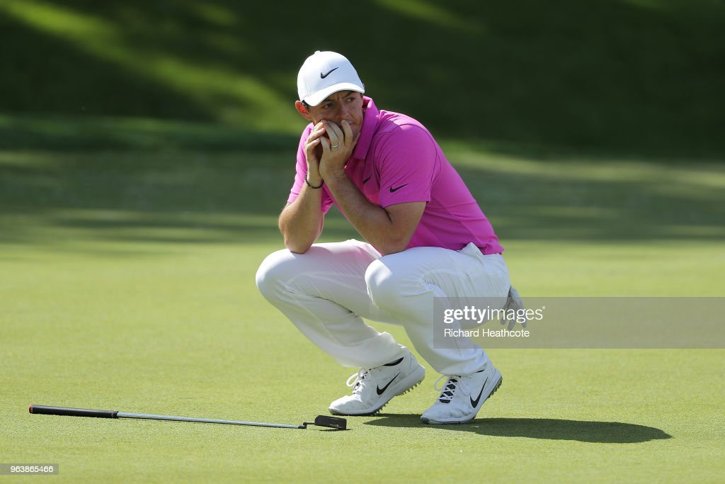 Rory McIlroy of Northern Ireland reacts to a missed eagle putt on the 18th green during the final round of the BMW PGA Championship at Wentworth on May 27, 2018 in Virginia Water, England.