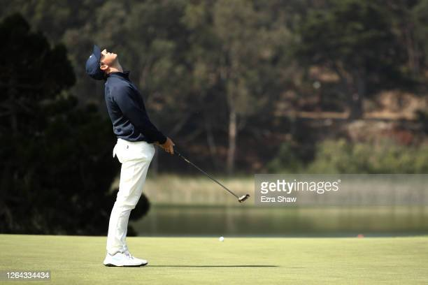 Rory McIlroy of Northern Ireland reacts to a missed putt on the 17th hole during the first round of the 2020 PGA Championship at TPC Harding Park on...