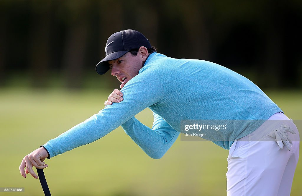 Rory McIlroy of Northern Ireland reacts to a missed putt on the 18th green during the first round of the Dubai Duty Free Irish Open Hosted by the Rory Foundation at The K Club on May 19, 2016 in Straffan, Ireland.