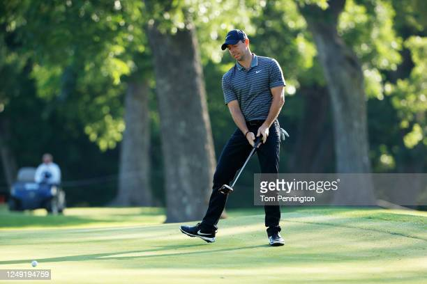 Rory McIlroy of Northern Ireland reacts to a missed putt on the tenth green during the second round of the Charles Schwab Challenge on June 12 2020...