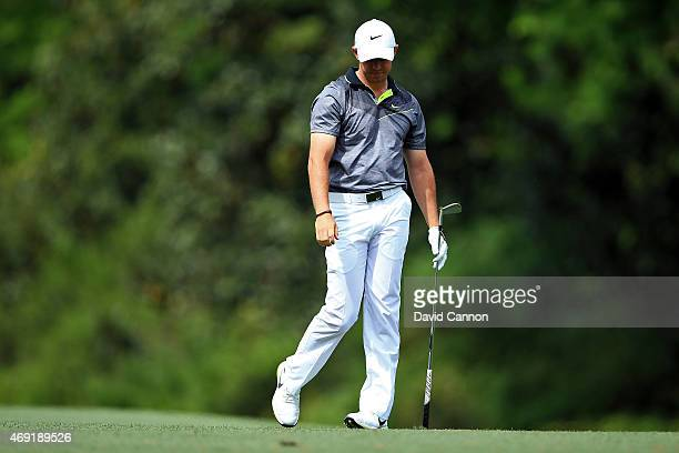 Rory McIlroy of Northern Ireland reacts to a poor second shot on the fifth hole during the second round of the 2015 Masters Tournament at Augusta...