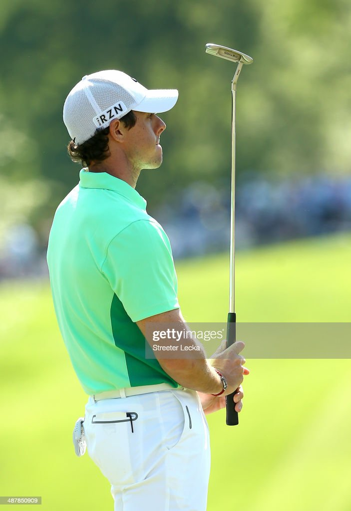 Rory McIlroy of Northern Ireland reacts to a putt on the 15th hole during the second round of the Wells Fargo Championship at Quail Hollow Club on May 2, 2014 in Charlotte, North Carolina.