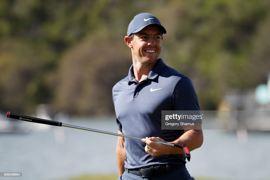 Rory McIlroy of Northern Ireland reacts to his birdie putt on the 14th green during the first round of the World Golf Championships-Dell Match Play at Austin Country Club on March 21, 2018 in Austin, Texas.