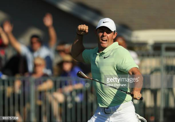 Rory McIlroy of Northern Ireland reacts to his biride putt on the 15th green during the final round at the Arnold Palmer Invitational Presented By...