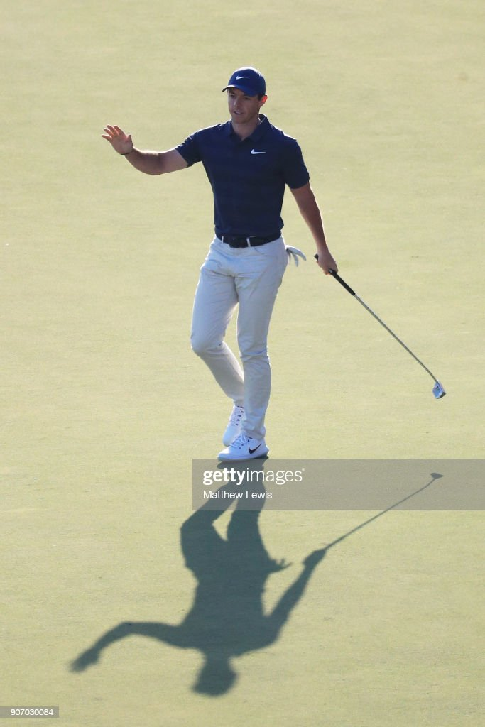 Rory McIlroy of Northern Ireland reacts to his eagle on the 18th green during round two of the Abu Dhabi HSBC Golf Championship at Abu Dhabi Golf Club on January 19, 2018 in Abu Dhabi, United Arab Emirates.
