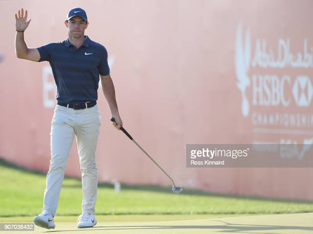 Rory McIlroy of Northern Ireland reacts to his eagle on the 18th green during round two of the Abu Dhabi HSBC Golf Championship at Abu Dhabi Golf...