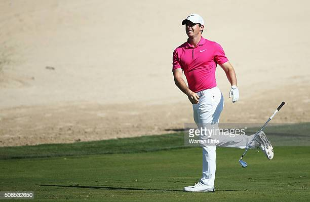 Rory McIlroy of Northern Ireland reacts to his second shot on the 8th hole during the second round of the Omega Dubai Desert Classic at the Emirates...