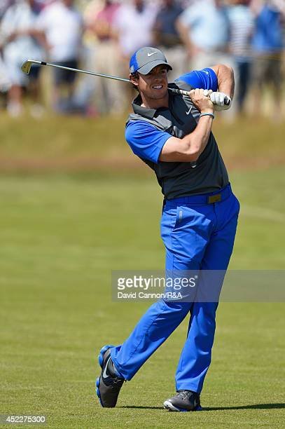 Rory McIlroy of Northern Ireland reacts to his second shot on the 16th hole during the first round of The 143rd Open Championship at Royal Liverpool...
