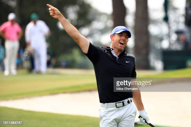 Rory McIlroy of Northern Ireland reacts to his shot from the third tee during the first round of the Masters at Augusta National Golf Club on April...