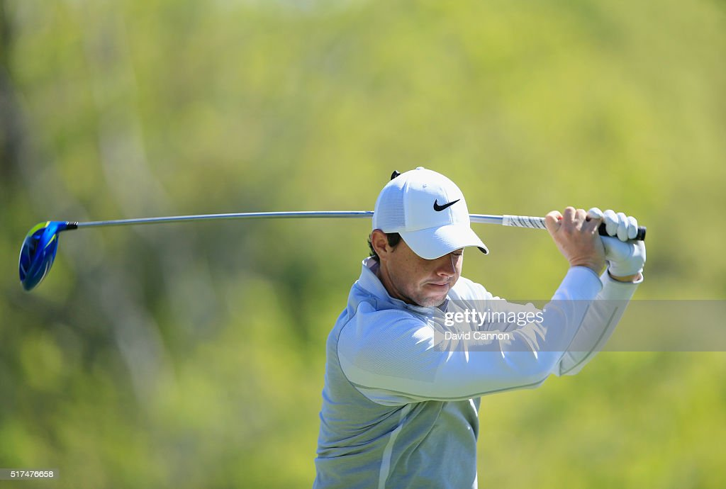 Rory McIlroy of Northern Ireland reacts to his tee shot on the third hole during the third round of the World Golf Championships-Dell Match Play at the Austin Country Club on March 25, 2016 in Austin, Texas.