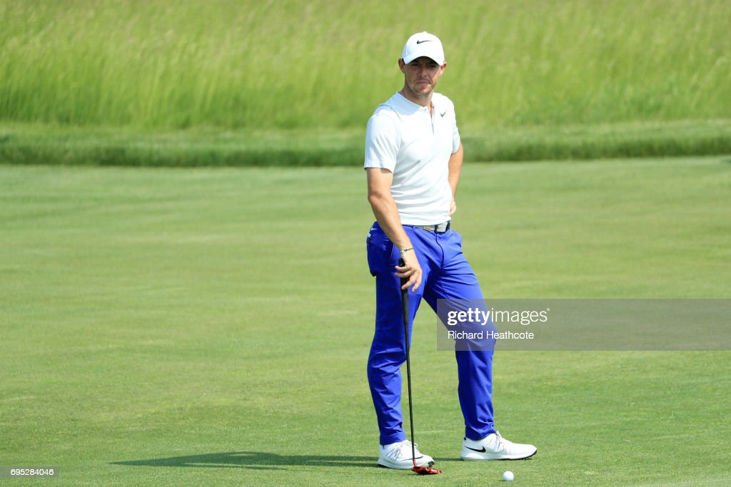 Rory McIlroy of Northern Ireland reacts while putting during a practice round prior to the 2017 U.S. Open at Erin Hills on June 12, 2017 in Hartford, Wisconsin.