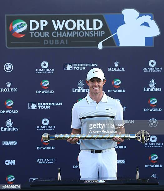 Rory McIlroy of Northern Ireland Rory McIlroy of Northern Ireland poses with the DP World Tour Championship trophy following the final round of the...