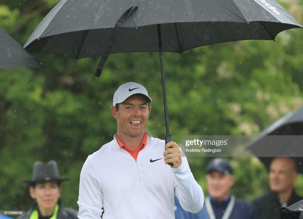 Rory McIlroy of Northern Ireland smiles during a practice round prior to the 2018 U.S. Open at Shinnecock Hills Golf Club on June 13, 2018 in Southampton, New York.