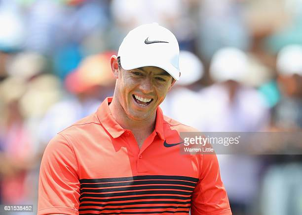 Rory McIlroy of Northern Ireland smiles on his last hole during the first round of the BMW South African Championship at Glendower Golf Club on...