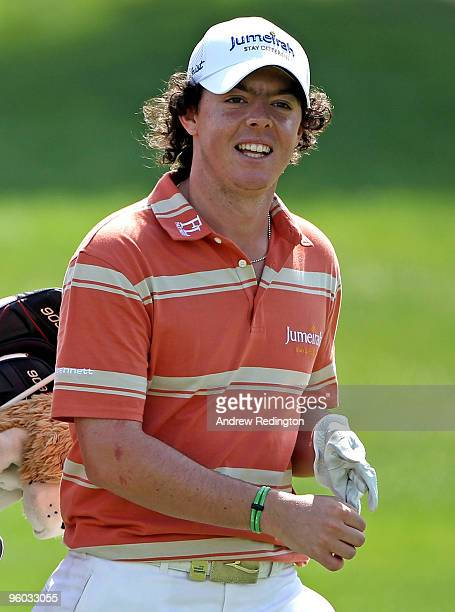 Rory McIlroy of Northern Ireland smiles on the fifth hole during the third round of The Abu Dhabi Golf Championship at Abu Dhabi Golf Club on January...
