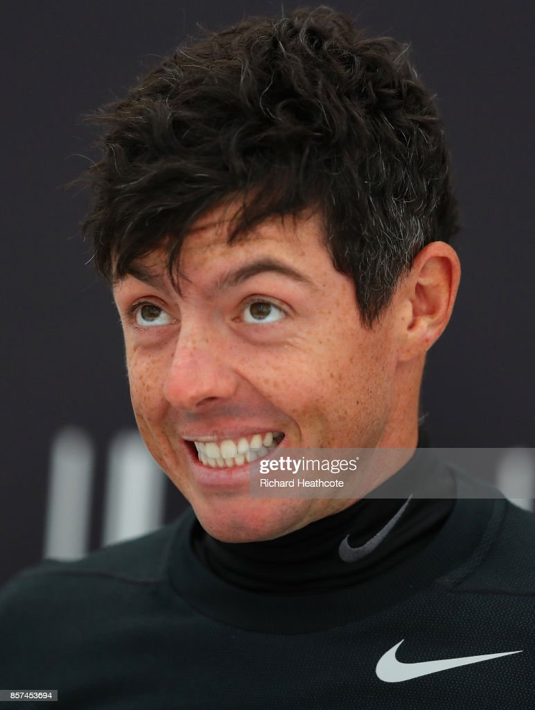 Rory McIlroy of Northern Ireland speaks in a press conference during practice prior to the 2017 Alfred Dunhill Links Championship at The Old Course on October 4, 2017 in St Andrews, Scotland.