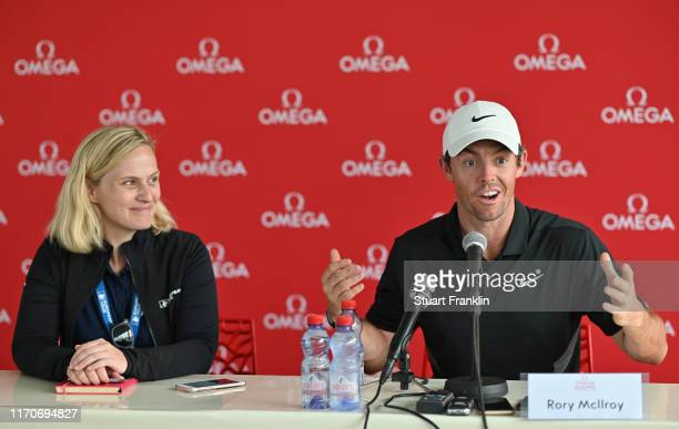 Rory McIlroy of Northern Ireland speaks to media during a press conference after the proam prior to the start of the Omega European Masters at Crans...