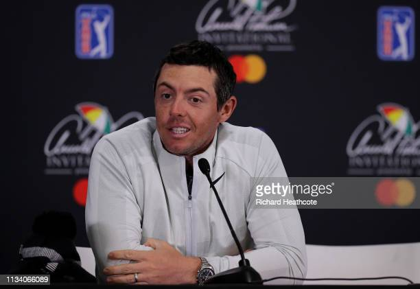 Rory McIlroy of Northern Ireland speaks to the media after the proam for the Arnold Palmer Invitational Presented by Mastercard at the Bay Hill Club...