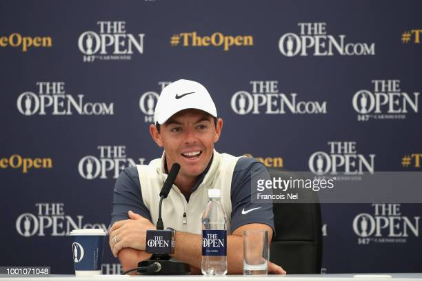 Rory McIlroy of Northern Ireland speaks to the media at a press conference during previews to the 147th Open Championship at Carnoustie Golf Club on...