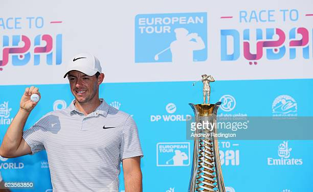 Rory McIlroy of Northern Ireland stands in front of the new Race to Dubai brand featuring the official Dubai logo Revealed at Jumeirah Golf Estates...