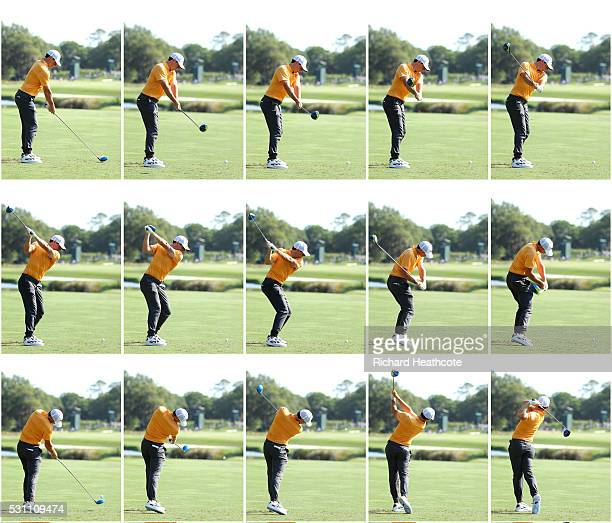 Rory McIlroy of Northern Ireland swing sequence during the first round of THE PLAYERS Championship at the Stadium course at TPC Sawgrass on May 12...