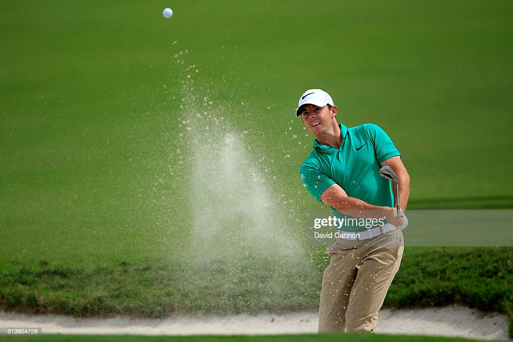 Rory McIlroy of Northern Ireland takes his third shot on the first hole during the third round of the World Golf Championships-Cadillac Championship at Trump National Doral Blue Monster Course on March 5, 2016 in Doral, Florida.