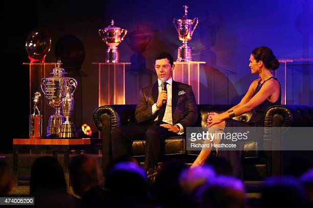 Rory McIlroy of Northern Ireland takes part in a QA with presenter Kirsty Gallacher during the European Tour Players' Awards ahead of the BMW PGA...