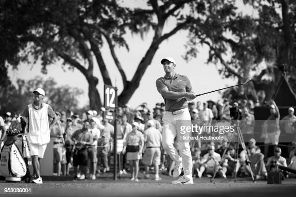 Rory McIlroy of Northern Ireland tee's off at the 12th during the second round of THE PLAYERS Championship on the Stadium Course at TPC Sawgrass on...
