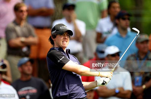 Rory McIlroy of Northern Ireland tee's off at the 17th during the third round of the Quail Hollow Championship at Quail Hollow Country Club on May 1...