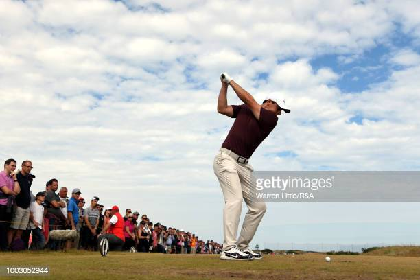 Rory McIlroy of Northern Ireland tees off at the 6th hole during round three of the Open Championship at Carnoustie Golf Club on July 21 2018 in...