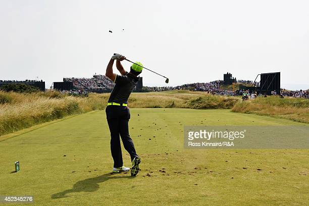 Rory McIlroy of Northern Ireland tees off at the 6th hole during the second round of The 143rd Open Championship at Royal Liverpool on July 18 2014...