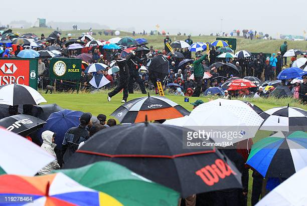 Rory McIlroy of Northern Ireland tees off at the third hole during the third round of The 140th Open Championship at Royal St George's on July 16,...
