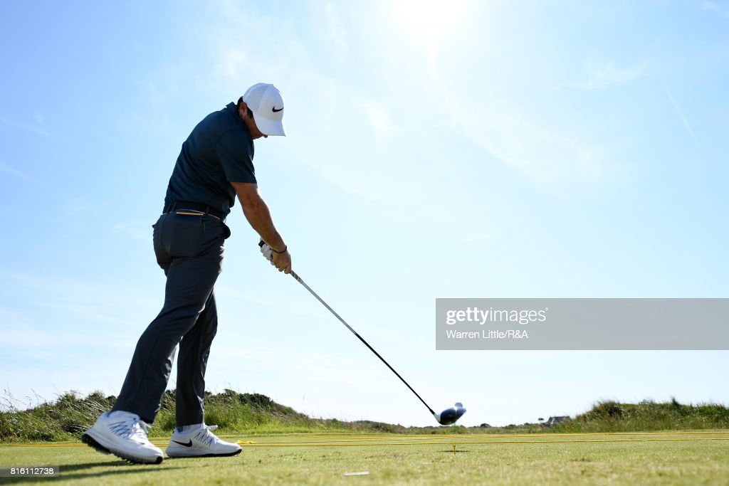 Rory McIlroy of Northern Ireland tees off during a practice round prior to the 146th Open Championship at Royal Birkdale on July 17, 2017 in Southport, England.