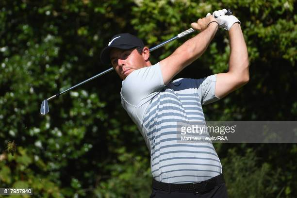 Rory McIlroy of Northern Ireland tees off during a practice round prior to the 146th Open Championship at Royal Birkdale on July 18, 2017 in...