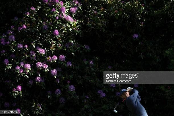 Rory McIlroy of Northern Ireland tees off during previews for the BMW PGA Championship at Wentworth on May 22 2018 in Virginia Water England